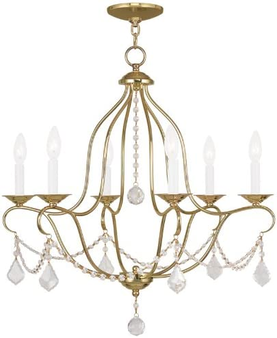 Livex Lighting 6426-02 Chesterfield 6 Light Chandelier, 26 x 1 x 26 , Polished Brass