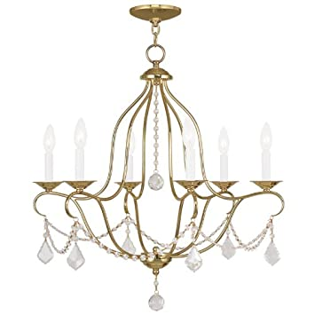Livex Lighting 6426-02 Chesterfield 6 Light Chandelier, 26 x 1 x 26 , Polished Brass