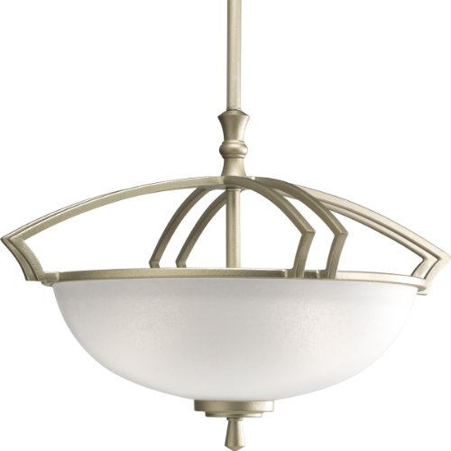 Progress Lighting P3349-117 Three-Light Semi-Flush with Etched Mist Glass Shades, Hammered Platinum (Platinum Hammered Three Light)