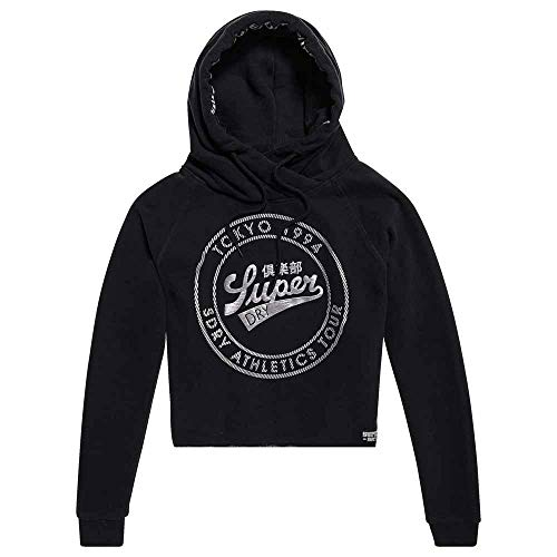 Superdry S Hoodies Female Sweatshirts Blackest Hood Crop Metallic And Ace Black 1a1wEdxvrq