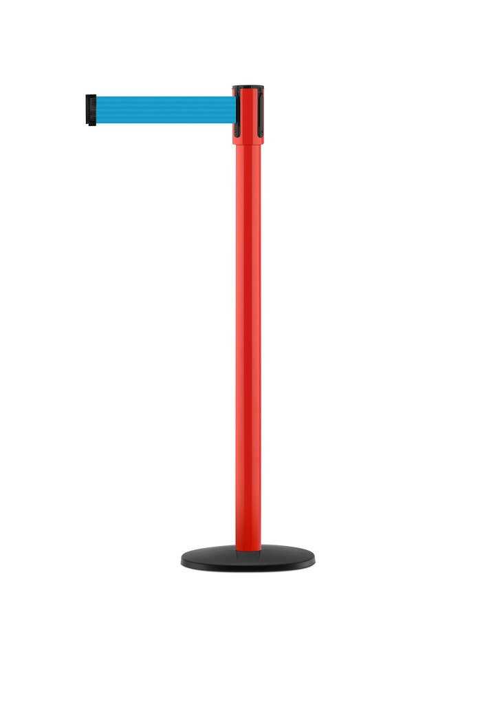 Tensabarrier - 890B-33-21-21-STD-NO-L3X-C - red post, 2'' wide, 7'6'' length Light Blue belt