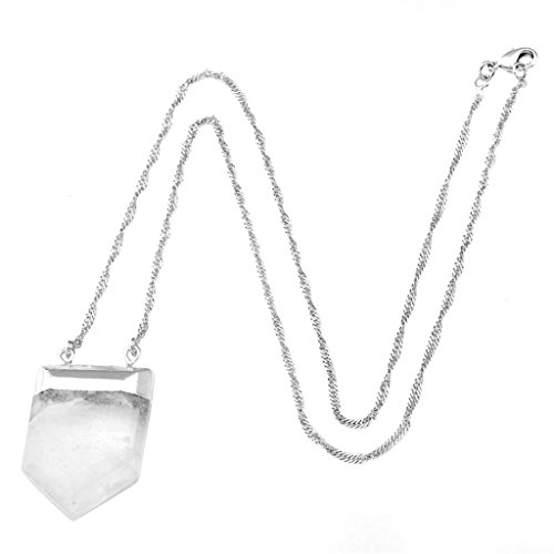 Gemstone Crystal Pendant Platinum Necklace