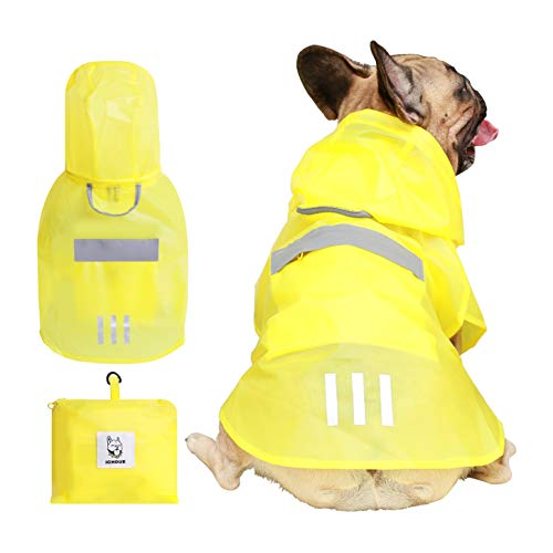 iChoue Dog Raincoat Packable Waterproof Rain Jacket Poncho with Reflective Stripe for Medium French Bulldog Pug (Yellow, M)
