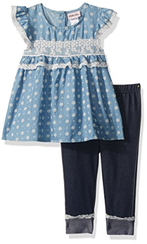 Little Lass Baby Toddler Girls' 2 Piece Fashion Capri Set, Denim, 2T