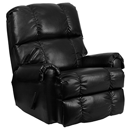 Flash Furniture Contemporary Apache Black Leather Rocker Recliner - Black Leather Recliner Rocker