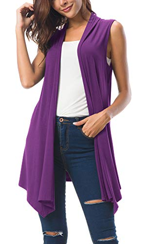 - Women's Sleeveless Draped Open Front Cardigan Vest Asymmetric Hem (M, Purple)