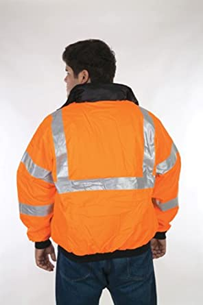 """Liberty HiVizGard Polyester Class 3 Bomber Jacket with 2"""" Wide Silver Reflective Stripes, Large, Orange"""