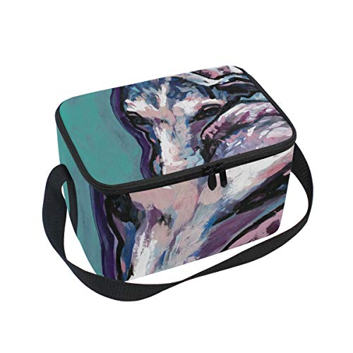 Lunch Bag Whippet Dog, Large Insulated Bento Cooler Box with Black Shoulder Strap for Men Women Kids, BaLin 10