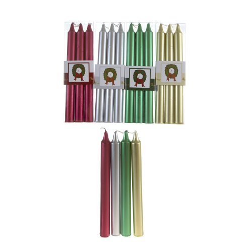 """Mega Candles - Unscented 8"""" Metallic Taper Candle, Set of 12"""