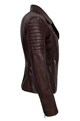 Range Femme Smart Veste 9334 Biker Real De Designer Élégant Mode Nouveau Brown Doux Cuir XZkiTOPu