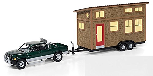 Diecast Dodge Ram (Johnny Lightning 1996 Dodge Ram 1500 Forest Green Metallic & Silver and Tiny House with Brown Shake Siding)