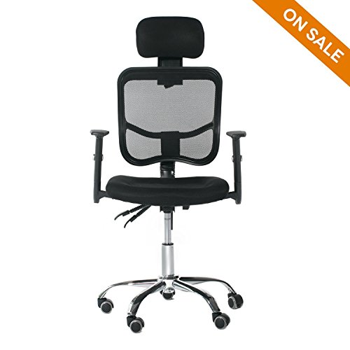 CCTRO Adjustable Mesh High Back Computer Desk Office Swivel Task Chair with Headrest and Armrests for Home (Plating Executive Cover)