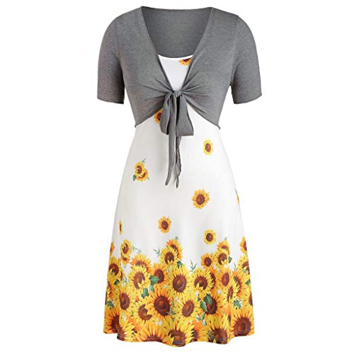 (ℱLOVESOOℱ Women Casual Summer Short Sleeve Bow Knot Cover Up Tops Sunflower Print Strap Mini Dress Two-Piece Set White )