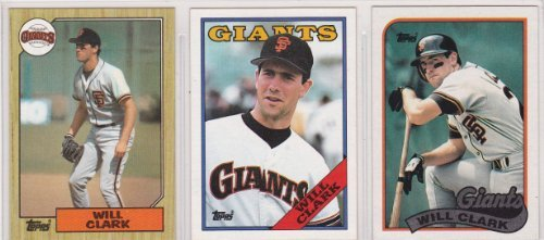 Will Clark 3 Card Baseball Lot Including 1987 Topps Rookie Card 1988 1989 San Francisco Giants