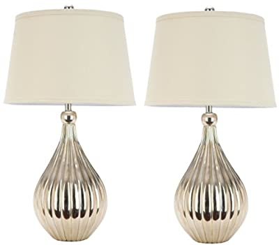 Safavieh Lighting Collection Elli Champagne Gourd 27.5-inch Table Lamp (Set of 2)