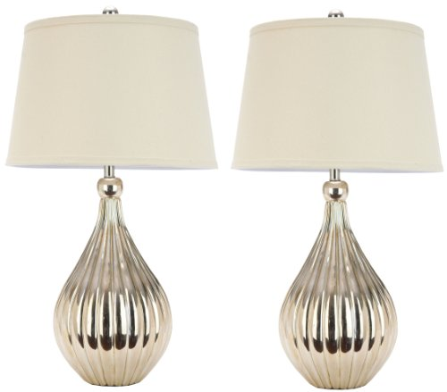 Champagne Table One Lamp Light (Safavieh Lighting Collection Elli Champagne Gourd 27.5-inch Table Lamp (Set of 2))