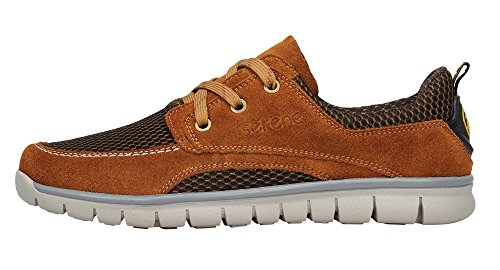 Suede Casual Summer Mens Serene Leather Breathable Mesh Lace Fashion Sneaker Brown Up tzwxxU