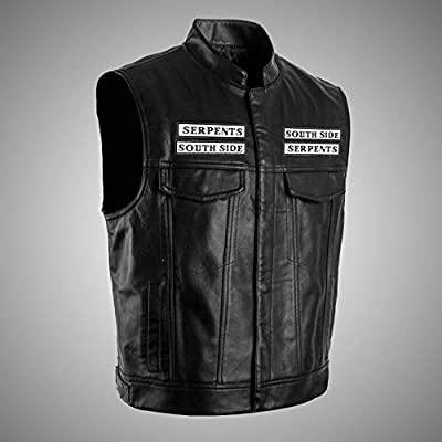 Goodserver Riverdale Southside Serpents Jacket Vest for Adults with Faux Leather Unisex Casual Punk Printing Coat at Men's Clothing store