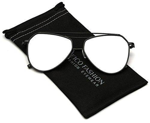 Reflective Full Metal Frame Double Bridge Cross Bar Aviator - Sunglasses Reflective Aviator Black