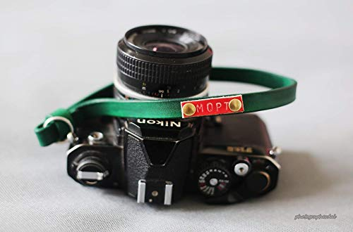 Green camera wrist band strap, from windmup, leather, 100% handmade,strong, 12mm (Customizable)