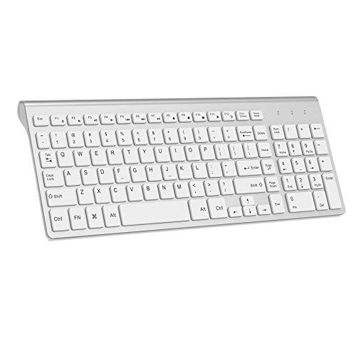 Wireless Keyboard, J JOYACCESS 2.4G Slim and Compact Wireless Keyboard-White+Silver (Keyboard White)