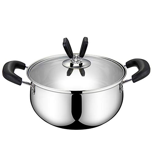 Double Happiness 3.5 Quart Stainless Steel Stock Pot Soup Pasta Pot with Lid, Heat Proof Handles, Non Toxic Easy Clean-Silver