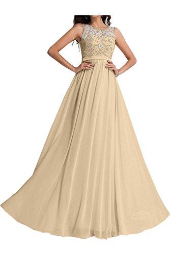 Chiffon Champagner Abendkleider Steine Ballkleid Ivydressing A Promkleid Linie Damen Rundkragen Fwxq4zY