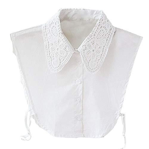 Bianca Swedream Staccabile Bianco Donna Falso Colletto Camicia Collare Mezzo bianco Finto Elegante xFxSCB8nf