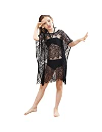 SolwDa Kids Girls Bikini White Beach Tops Shorts Lace Shawl Swimsuit Set Outfit Swimsuit Cover Up Clothes 5-6 Years