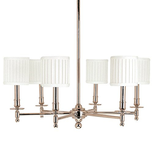 Hudson Valley Lighting Palmer 6-Light Chandelier – Polished Nickel Finish with Off White Linen Shade