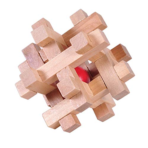 eroute66 Wooden Kong Ming Luban Lock Ball in Cage Puzzle Educational Toys Brain Teaser ()