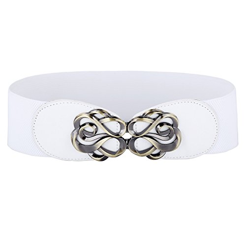 White Waist Belt Wide Elastic Belt for Women fashion Size M CL0413-2 (Womens White Belt)