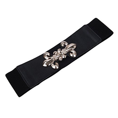 Premium Gold Fleur de lis Buckle Wide Elastic Stretch Waist Belt Waistband, Black (Black Belt Medallion)