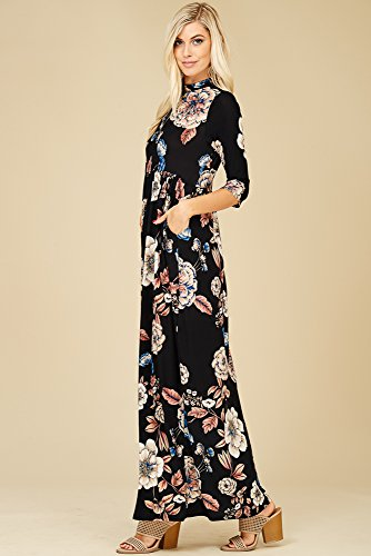Pockets 4 Black 3 D5236b Side Dresses Floral Sleeve Annabelle Maxi Women's Long with zqACCxZB