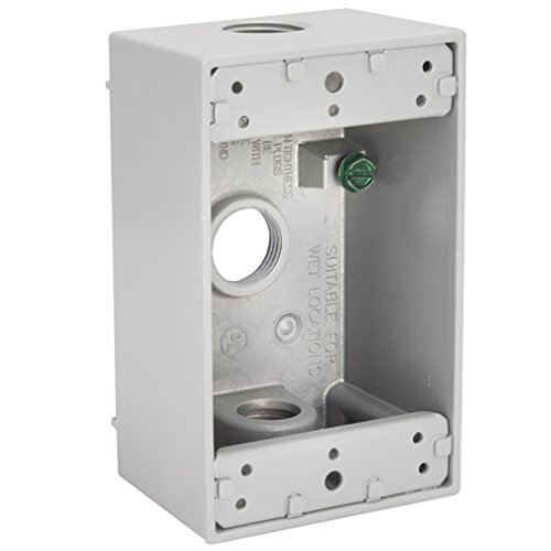 Hubbell-Bell 5324-1 2-Inch Deep 1-Gang 3 Outlet Weatherproof Box 18.3 Cubic Inch, White