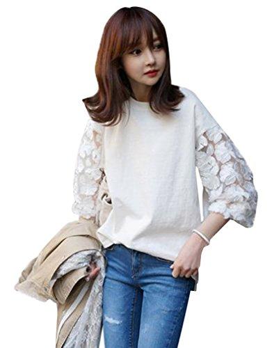 尽きる損なう毎年バイシン(BAISHUN)レディース シースルー 花柄 刺繍 Tシャツ カジュアル 七分袖 Tシャツ