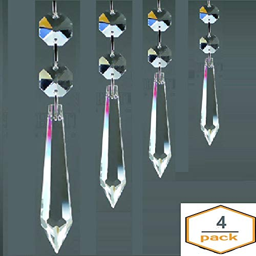 (Crystal Clear U-Drop Prisms Chandelier Crystals Pointed Bead Prisms Rainbow Suncatcher for Home Décor, Weddings, Baby Rooms and Christmas Tree Decorations Prisms 38mm, 55mm, 63mm, 76mm, 4 Pack Clear)