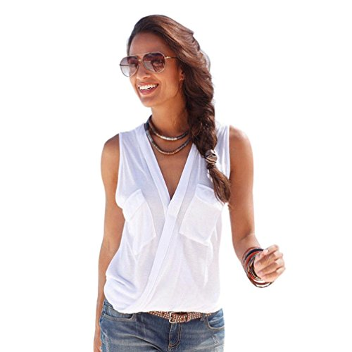 Luweki Womens Sleeveless V Neck Vest Casual T-Shirt Beach Top Blouse (XL, White)