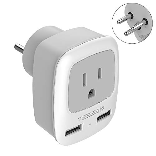 Israel Palestine Power Adapter Plug, TESSAN Type H 3-Prong Grounded Travel Plug Adaptor for US to Israeli with 2 USB…