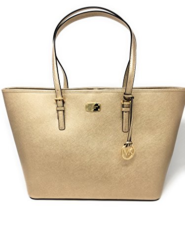 Michael Kors Leather Jet Set Large Carryall Travel Tote (Pale Gold) …