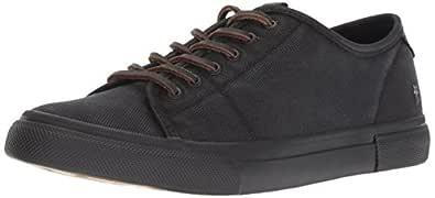 FRYE Women's Gia Low Lace Sneaker, Black Canvas Tonal Outsole, 5.5 M US