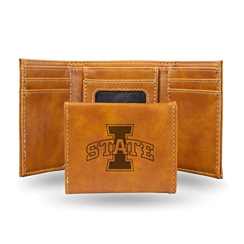 - Rico Industries NCAA Iowa State Cyclones Laser Engraved Tri-Fold Wallet, Brown