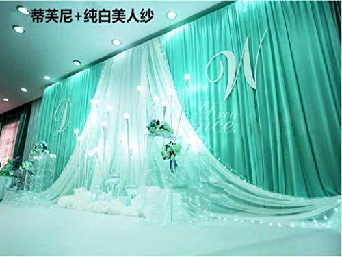 (Eyestar 20x10ft Luxury Wedding Stage Silk Backdrop Background Curtains with Beauty Yarn Gauze Decoration (Tiffany)