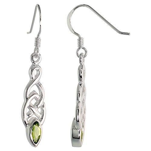 Sterling Silver Celtic Knot Earrings Genuine Gemstone Dangling Fishhook Flawless Finish 1 1 2 inch