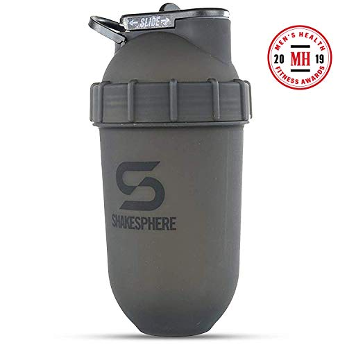 ShakeSphere Tumbler: Protein Shaker Bottle, 24oz ● Capsule Shape Mixing ● Easy Clean Up ● No Blending Ball or Whisk Needed ● BPA Free ● Mix & Drink Shakes, Smoothies, More ● Frosted/Black