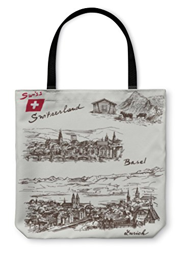 Gear New Shoulder Tote Hand Bag, Switzerland Han Drawn Set, 18x18, 5969869GN by Gear New