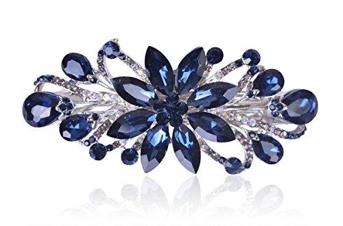 Sankuwen Flower Luxury Jewelry Design Hairpin Rhinestone Hair Barrette Clip (Dark Blue)
