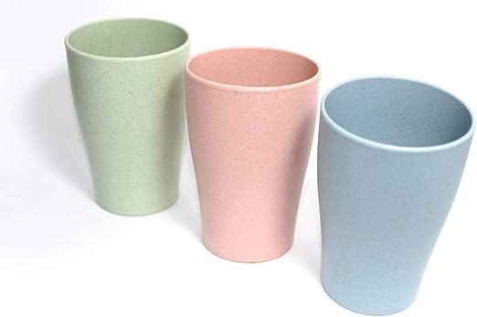 Juego de 3 Vasos Fabricados con Paja de Trigo, sin BPA, Set ...