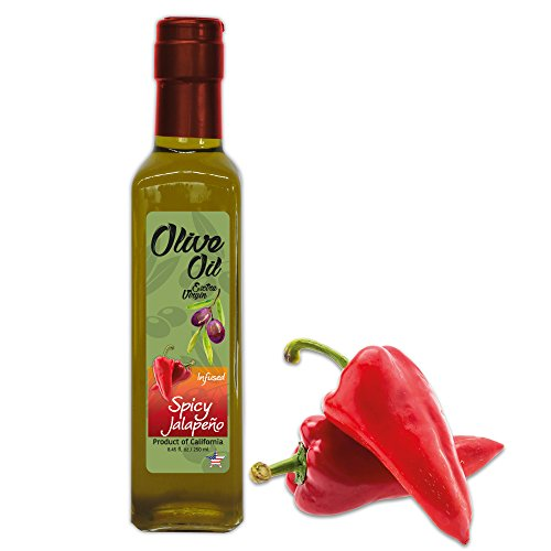 Fresh Jalapeño Extra Virgin Olive Oil - Cold Press - California's Super Fresh Farm to Table - Crop Year: Late 2017/Early 2018-8.45 fl oz - Quadra Glass Bottle -T Cap Cork - Vegan - NON GMO by The Gallery Market
