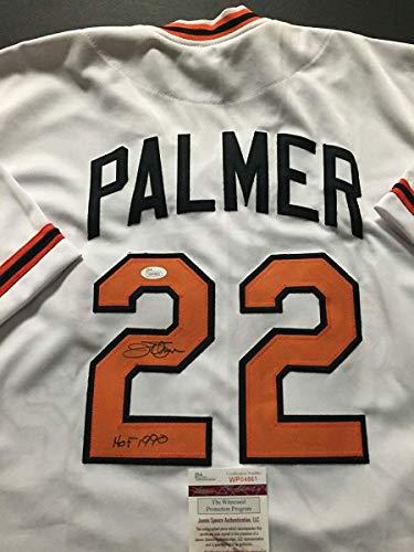 (Autographed/Signed Jim Palmer HOF 1990 Baltimore White Baseball Jersey JSA COA)